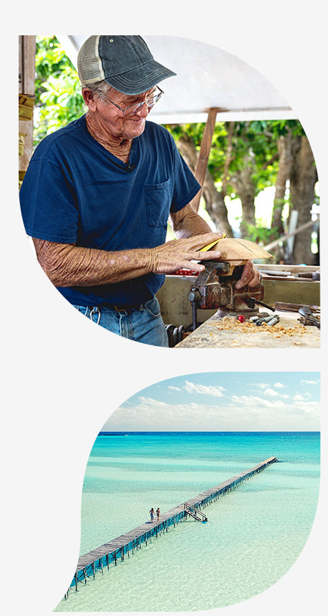 top image man with blue shirt carving wood bottom image ocean with board walk