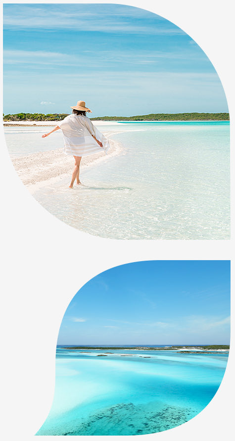 woman in a white swimsuit cover up and straw hat on the shore for the top image and view of ocean in the bottom image