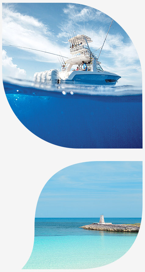 Fishing Boat offshore bottom image clear ocean with Island