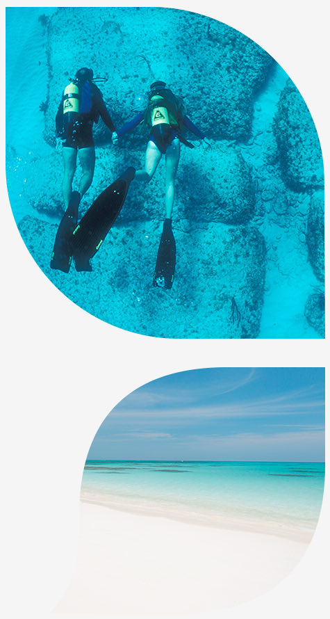 couple scuba diving in the top image and beach and sand in the bottom image