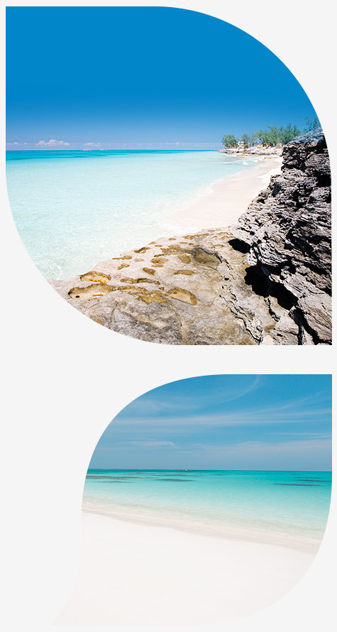 Top beach image with Rocks and bottom image beach