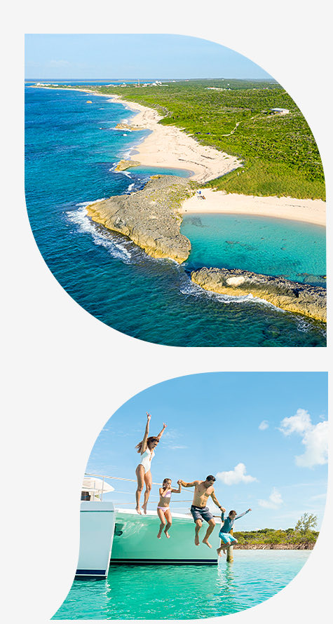 Top image shoreline of the beach with a blue hole opening to the ocean bottom image family jumping into water off sailboat