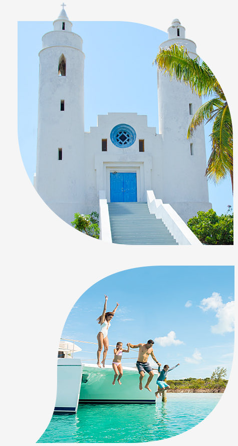 Top imgae white church with blue door bottom image family jumping off sailboat