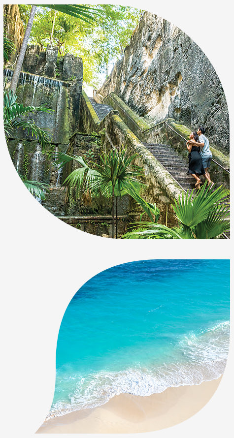 Top image couple walking up queens staircase, bottom image waves crashing on sand