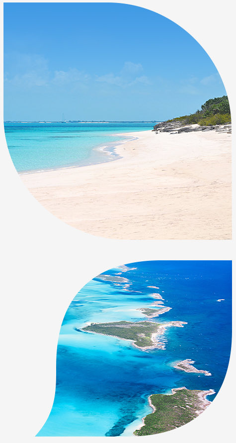 top image white sand beach witch blue water bottom ocean with chain of islands