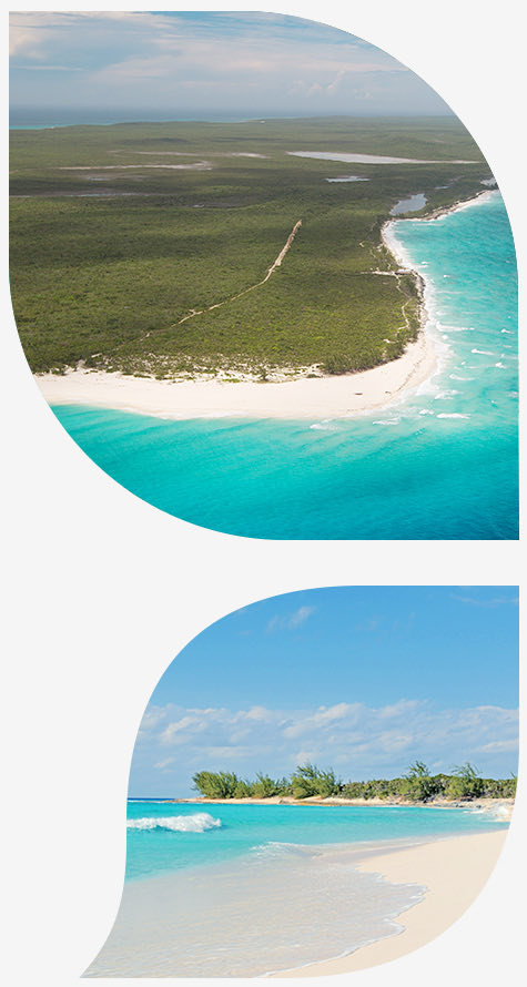 view of water reaching the shore in top image and view of beach in bottom image