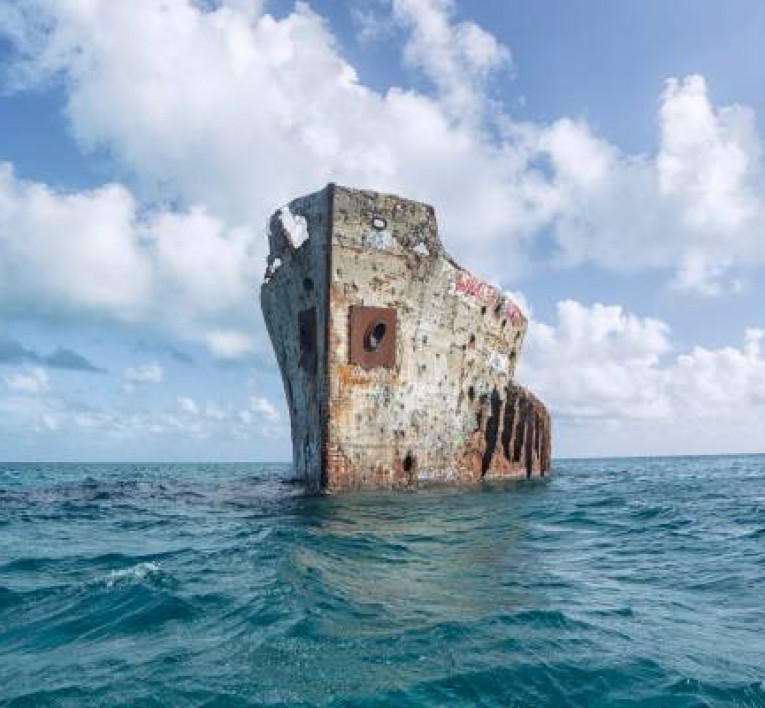 Remains of the SS Sapona Shipwreck in the Middle of the Ocean