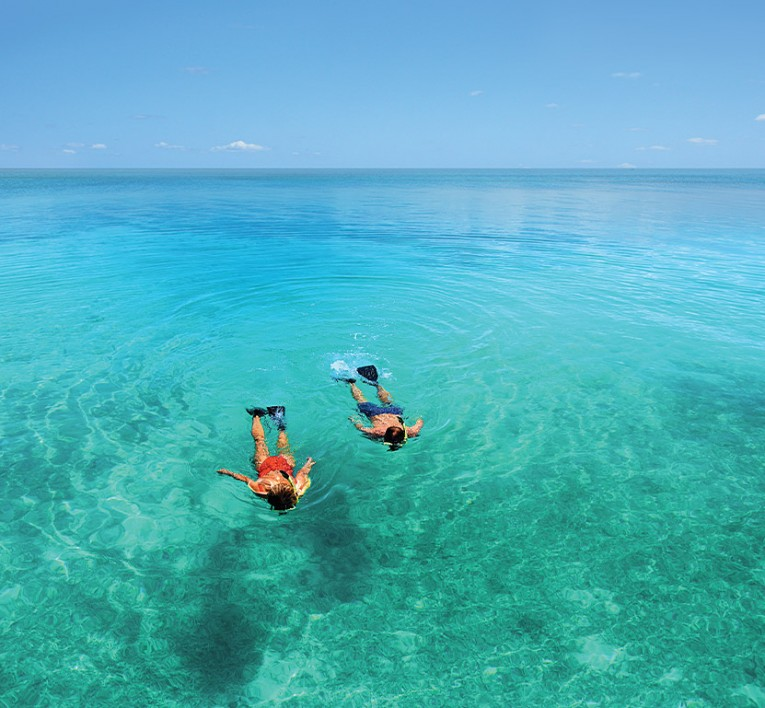 man and woman snorkeling in open water