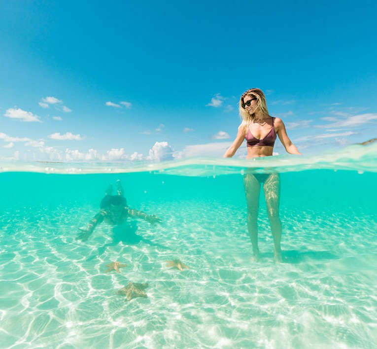 man swimming beneath shallow clear water observing starfish and woman standing up in waist high water